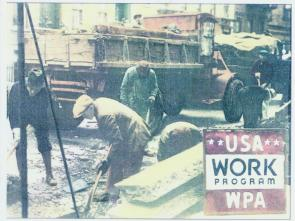 The Works Progress Administration (renamed in 1939 to the Work Projects Administration; WPA) was the largest New Deal agency, employing millions of people and affecting almost every locality in the United States, especially rural and western mountain populations. It was created by Franklin Delano Roosevelt's presidential order, and funded by Congress with passage of the Emergency Relief Appropriation Act of 1935 on April 8, 1935. (The legislation had passed in the House by a margin of 329 to 78, but got bogged down in the Senate.)[1]  It continued and extended relief programs similar to the Reconstruction Finance Corporation (RFC), started by Herbert Hoover and the U.S. Congress in 1932. Headed by Harry Hopkins, the WPA provided jobs and income to the unemployed during the Great Depression in the United States. Between 1935 and 1943, the WPA provided almost 8 million jobs.[2] The program built many public buildings, projects and roads and operated large arts, drama, media and literacy projects. It fed children and redistributed food, clothing and housing. Almost every community in America has a park, bridge or school constructed by the agency. Expenditures from 1936 to 1939 totaled nearly $7 billion.[1]  Until closed down by Congress and the war boom in 1943, the various programs of the WPA added up to the largest employment base in the country — indeed, the largest cluster of government employment opportunities in most states. Anyone who needed a job could become eligible for most of its jobs.[3] Hourly wages were the prevailing wages in the area; the rules said workers could not work more than 30 hours a week, but many projects included months in the field, with workers eating and sleeping on worksites. Before 1940, there was some training involved in teaching new skills and the project's original legislation went forward with a strong emphasis on family, training and building people up. The role and participation of labor unions in WPA processes is unclear.