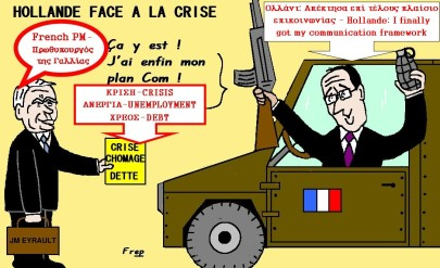 ο Hollande απέναντι στην κρίση - Holland vis-a-vis the crisis, by Frep (Burkina Faso) [Enlarge-agrandir-μεγαλώστε]