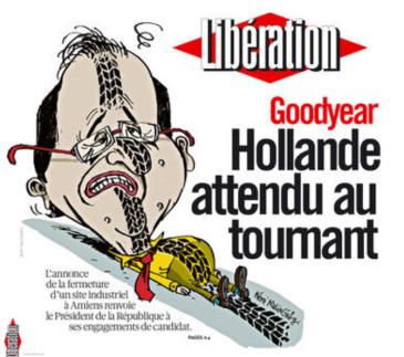 """Πρωτοσέλιδο της """"Liberation"""": Goodyear: ο Ολλανντ αναμένεται στη στροφή - First page of the """"Liberation"""": Goodyear, Holland expected to the turn - A la une de «Libé» : Goodyear, Hollande attendu au tournant  [Enlarge-agrandir-μεγαλώστε]"""