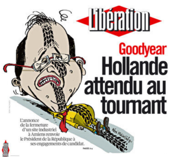 "Πρωτοσέλιδο της ""Liberation"": Goodyear: ο Ολλανντ αναμένεται στη στροφή - First page of the ""Liberation"": Goodyear, Holland expected to the turn - A la une de «Libé» : Goodyear, Hollande attendu au tournant  [Enlarge-agrandir-μεγαλώστε]"
