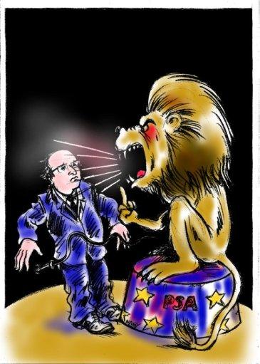 Το λιοντάρι της Peugeot Ανώνυμης Εταιρείας τρομοκρατεί τον Ολλάντ - The lion of Peugeot Anonymous Company terrorises President Hollande - Le lion de Peugeot Société Anonyme terrorise le Président Hollande, by Nagy [Enlarge-agrandir-μεγαλώστε]