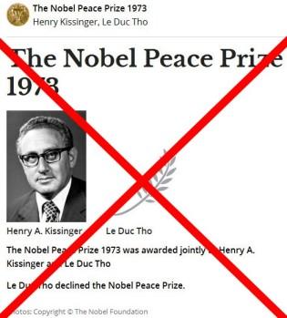 Το Βραβείο Νόμπελ Ειρήνης 1973 απονεμήθηκε από κοινού στον Henry A. Kissinger και ο Le Duc Tho Le Duc Tho αρνήθηκε το βραβείο Νόμπελ Ειρήνης - The Nobel Peace Prize 1973 was awarded jointly to Henry A. Kissinger and Le Duc Tho Le Duc Tho declined the Nobel Peace Prize - Le Nobel de la paix 1973 a été attribué conjointement à Henry A. Kissinger et Le Duc Tho Le Duc Tho a refusé le Prix Nobel de la Paix. via [Enlarge-agrandir-μεγαλώστε]