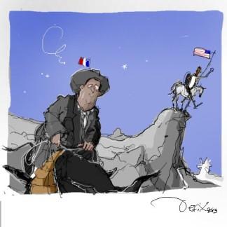 Ο Σάντσο-Ολάντ και ο Μπαρα-Κιχότης στη Συρία - Sancho-Hollande and Barak-Kichotte in Syria - Sanchollande et Barakichotte en Syrie. Via. [Enlarge-agrandir-μεγαλώστε]