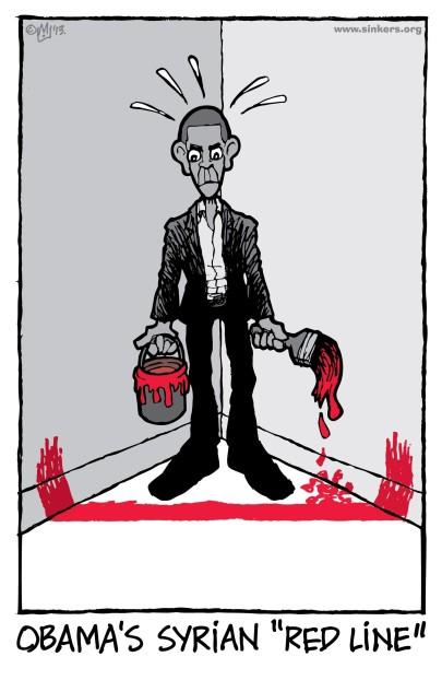 """Η «Κόκκινη Γραμμή» του Ομπάμα για την Συρία- Obama's Syrian """"Red Line"""" - La « Ligne Rouge » Syrienne d'Obama. Via: [Enlarge-agrandir-μεγαλώστε]"""