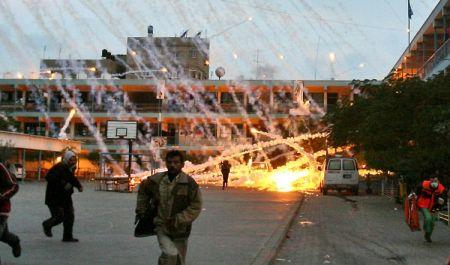 Φωτογραφία από σχολείο στη Beit Lahia-βόμβες φωσφόρου, στο βορρά της Λωρίδας της Γάζας, μετά από αεροπορικό βομβαρδισμό, 17 Ιανουαρίου 2007.
