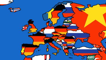 Εμπόριο, Η Ευρώπη εισάγει γερμανικά προϊόντα - Trade, Map shows Germany über alles - Commerce,  L'Europe importe allemand. via, Amiantedeluxe  [Μεγαλώστε - Enlarge - Agrandir]